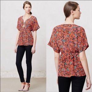 {Anthro} maeve Maes floral silk kimono top